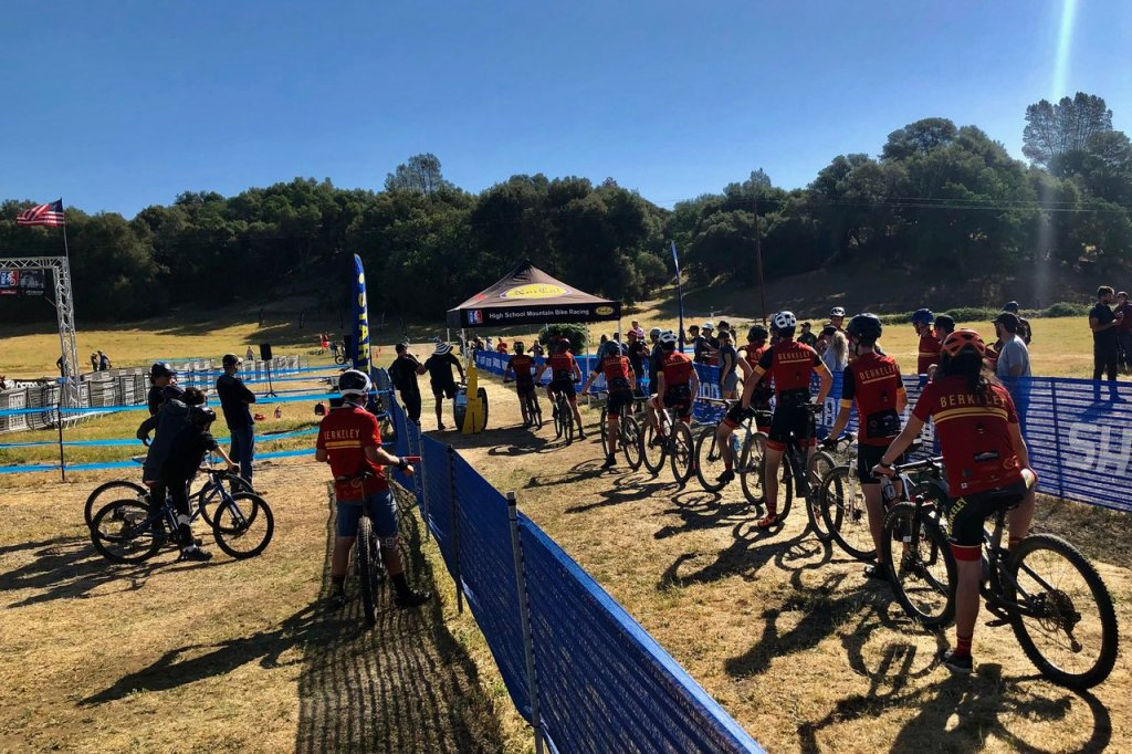 The Berkeley High School team lines up for the start of a team time trial race.